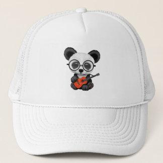 Casquette Panda de bébé jouant la guitare chinoise de