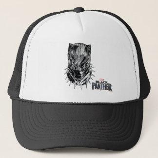 Casquette Panthère noire croquis principal noir et blanc de