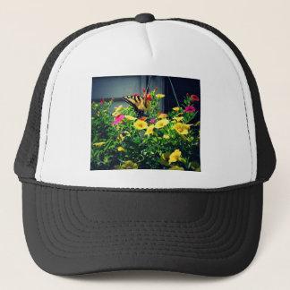 Casquette Papillon jaune avec la photo de fleurs