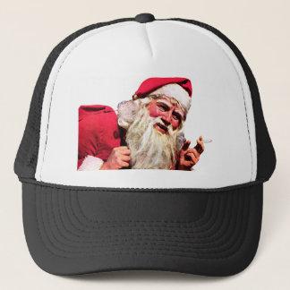 Casquette Père Noël vintage fumant la cigarette