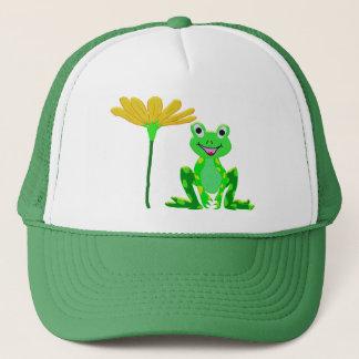 Casquette petite grenouille et fleur jaune