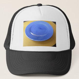 Casquette Plat en céramique bleu de couleur vide sur le