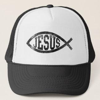 Casquette Poissons chrétiens de Jésus, Ichthys noir