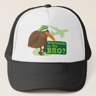 Casquette Qui doit piloter le bro ? humour d'oiseau de kiwi