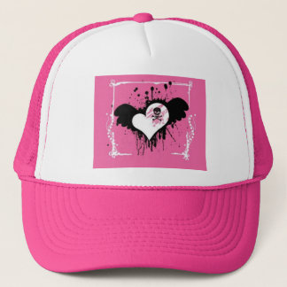 Casquette rose de boule de coeur/crâne