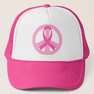 Casquette rose et blanc de cancer du sein de signe