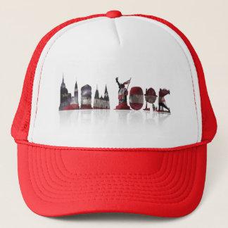 Casquette rouge/blanc de camionneur de New York