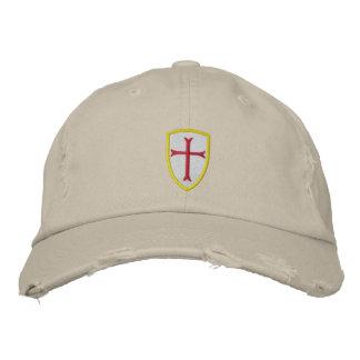 Casquette rouge de bouclier de croix de croisé casquette brodée