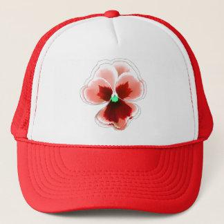 Casquette Rouge sur la fleur rouge de pensée Editable