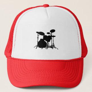 Casquette Silhouette noire et blanche de kit de tambour -
