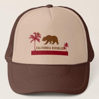 Casquette T-shirt de drapeau de la Californie - palmiers et