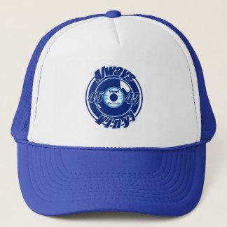 Casquette Toujours vinyle 45 bleu et blanc