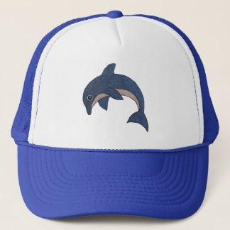 Casquette Type mignon dauphin sautant blanc bleu de bande