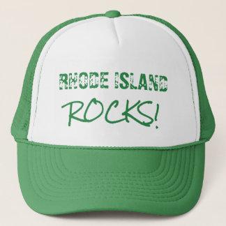 Casquette vert de mots de roches d'ÎLE DE RHODE