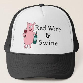 Casquette Vin rouge et porcs