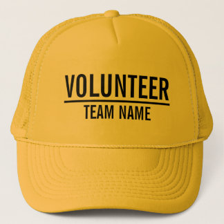 Casquette Volontaire jaune avec le nom fait sur commande