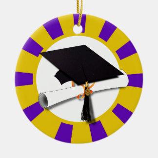 Casquette w/Diploma d'obtention du diplôme - or et Ornement Rond En Céramique