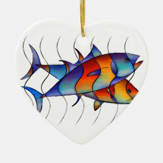 Cassanella - poisson rêveur ornement cœur en céramique