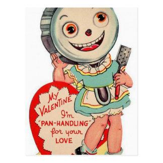 Casserole vintage de Valentine manipulant la carte