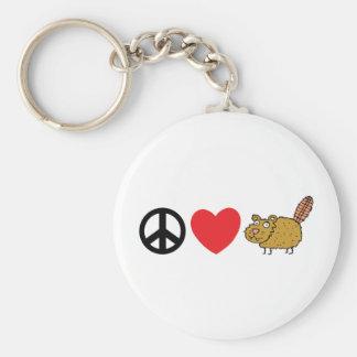 Castor de Canadien d'amour de paix Porte-clé Rond