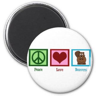 Castors d'amour de paix magnet rond 8 cm