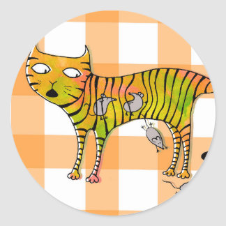 Cat and mouses sticker rond