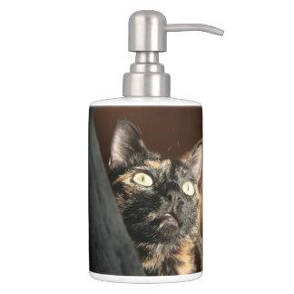 cat tortie soap plus dispender et tooth brush plus accessoire de salle de bains