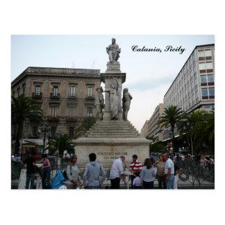 Catane, carte postale de Piazza Vincenzo Bellini