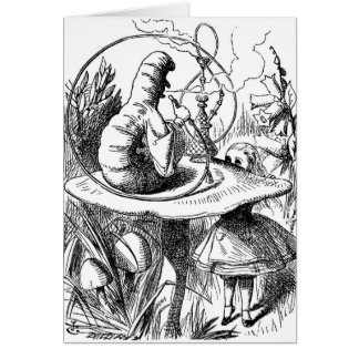 Caterpillar fumant un narguilé Alice au pays des Cartes