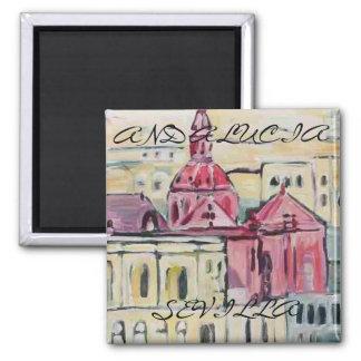 Cathedral_Sevilla, SÉVILLE, ANDALOUSIE Magnet Carré