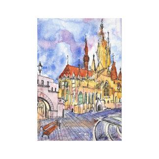 Cathédrale d'aquarelle et de stylo sur la toile