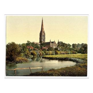Cathédrale, de la rivière, Salisbury, Angleterre Carte Postale