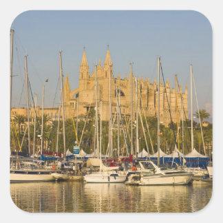Cathédrale et marina, Palma, Majorque, Espagne 2 Sticker Carré