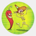 Cauchemar de poivre de piment fort pour un sticker rond