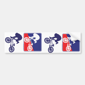Cavalier de BMX - blanc et bleu rouges Autocollant De Voiture