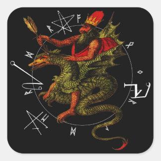 Cavalier de dragon autocollant carré