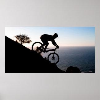 Cavalier de vélo de montagne. Tête de lions, Cape Affiche