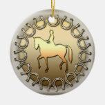 Cavalier et fers à cheval de cheval de dressage décoration pour sapin de noël