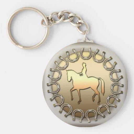 Cavalier et fers à cheval de cheval de dressage porte-clés
