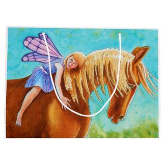 Cavalier féerique, cheval grand sac cadeau