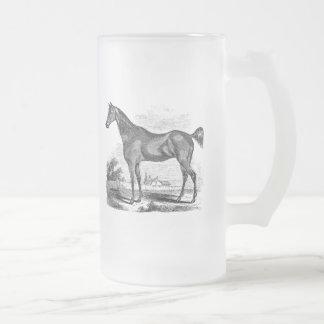 Cavalier vintage de cheval de pur sang mug en verre givré