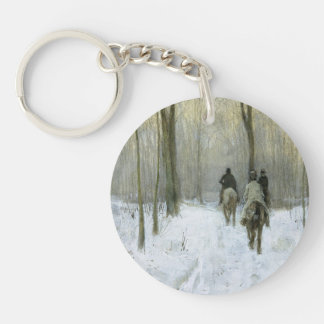Cavaliers dans la neige dans le bois de Haagse ma