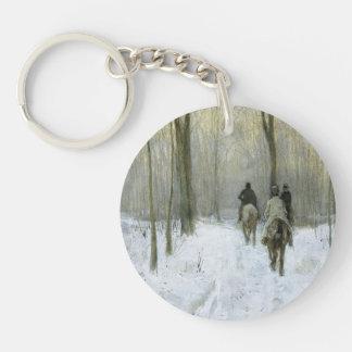 Cavaliers dans la neige dans le bois de Haagse, Porte-clé Rond En Acrylique Double Face