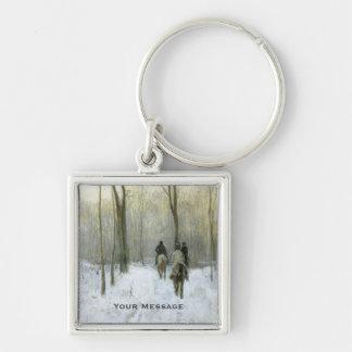 Cavaliers dans la neige dans le bois de Haagse, Porte-clé Carré Argenté