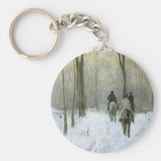 Cavaliers dans la neige dans le bois de Haagse, Porte-clé Rond