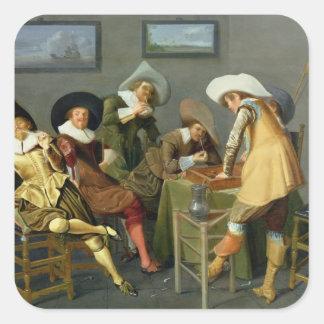 Cavaliers dans une taverne sticker carré