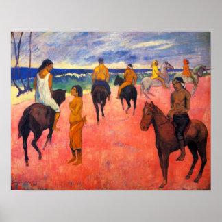 Cavaliers de Gauguin sur l'affiche de plage Posters