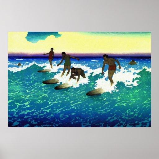Cavaliers de peinture honolulu de surf affiche zazzle - Peinture bois sur fer ...