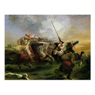 Cavaliers marocains dans l'action militaire, 1832 carte postale