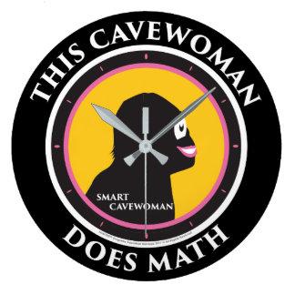 Cavewoman de Smart de maths d'horloge murale Grande Horloge Ronde